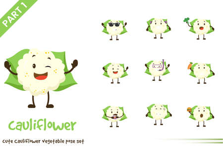 Vector cartoon illustration of cute cauliflower vegetable poses set. Isolated on white background.