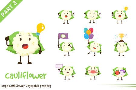 Vector illustration of cute cauliflower vegetable poses set. Isolated on white background.