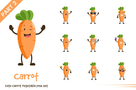 Vector illustration of cartoon cute carrot vegetable poses set. Isolated on white background. Vettoriali