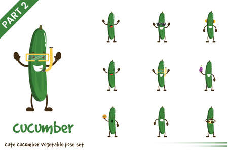 Vector illustration of cartoon cute cucumber vegetable poses set. Isolated on white background. Vettoriali