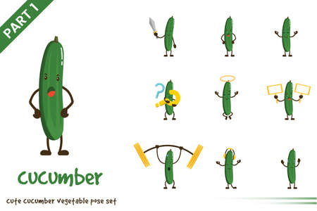 Vector cartoon illustration of cute cucumber vegetable poses set. Isolated on white background.