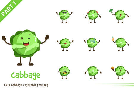 Vector cartoon illustration of cute cabbage vegetable poses set. Isolated on white background. Vettoriali