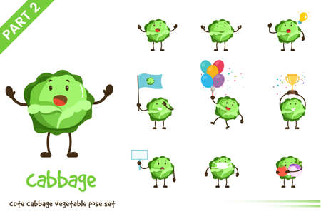 Vector illustration of cute cabbage vegetable poses set. Isolated on white background.