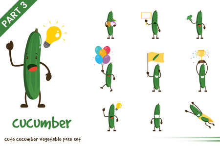 Vector illustration of cute cucumber vegetable poses set. Isolated on white background.
