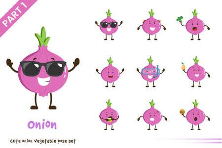 Vector cartoon illustration of cute onion vegetable poses set. Isolated on white background. 向量圖像
