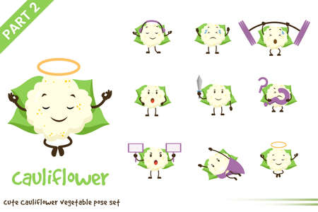 Vector illustration of cartoon cute cauliflower vegetable poses set. Isolated on white background. Vettoriali