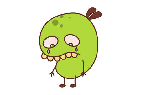 Vector cartoon illustration. Bean monster is crying. Isolated on white background.