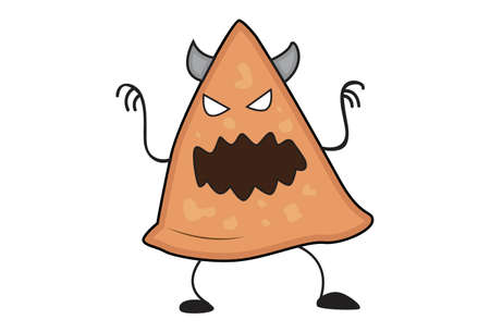 Vector cartoon illustration. Samosa is making a devil face. Isolated on white background.