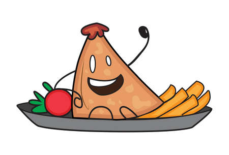 Vector cartoon illustration. Samosa is sitting on a plate with tomato and french fries. Isolated on white background.