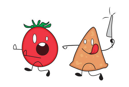 Vector cartoon illustration. Samosa is holding a knife and running behind a tomato. Isolated on white background. Illustration