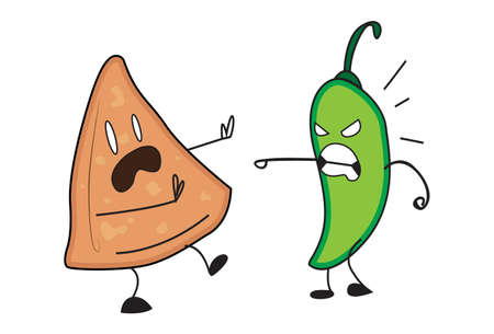 Vector cartoon illustration. Green chili is fighting with a samosa. Isolated on white background. Illustration