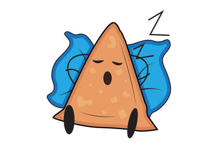 Vector cartoon illustration. Samosa is sleeping on a pillow. Isolated on white background. Illustration