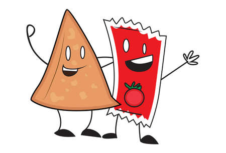 Vector cartoon illustration. Samosa is laughing with tomato sauce. Isolated on white background.