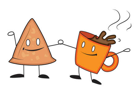 Vector cartoon illustration. Samosa is standing with a cup of tea. Isolated on white background.