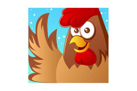Vector cartoon illustration of hen bird. Isolated on white background. 向量圖像