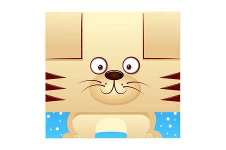 Vector cartoon illustration of cat animal. Isolated on white background.