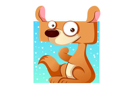 Vector cartoon illustration of a cute dog animal. Isolated on white background.