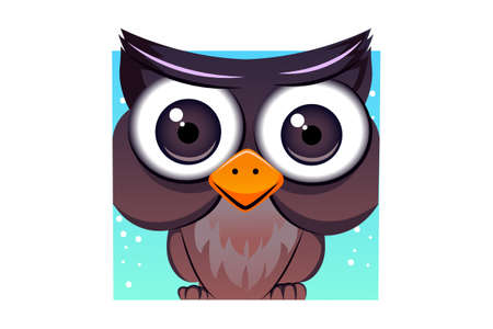 Vector cartoon illustration of owl bird. Isolated on white background.