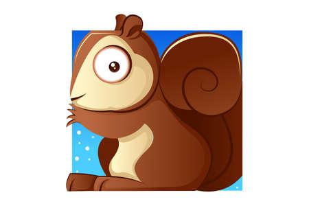 Vector cartoon illustration of a squirrel. Isolated on white background. Ilustración de vector