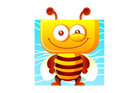 Vector cartoon illustration of a honey bee. Isolated on white background. 向量圖像