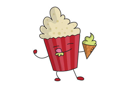 Vector cartoon illustration. Popcorn character is eating ice cream. Isolated on white background. 矢量图像