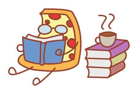 Vector cartoon illustration. Pizza is reading books. Isolated on white background.