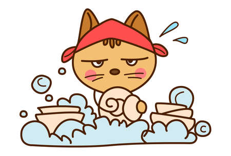 Vector cartoon illustration. Cute cat is washing dishes. Isolated on white background. 矢量图像