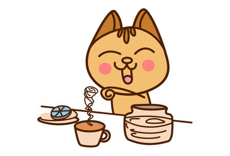Vector cartoon illustration. Cat is making tea. Isolated on white background.