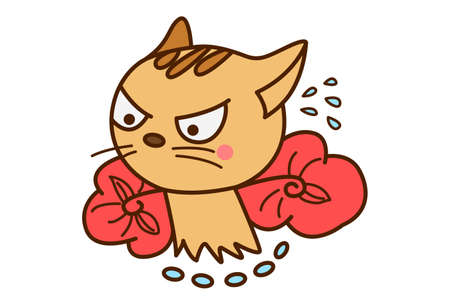 Vector cartoon illustration. Cute cat is angry. Isolated on white background.
