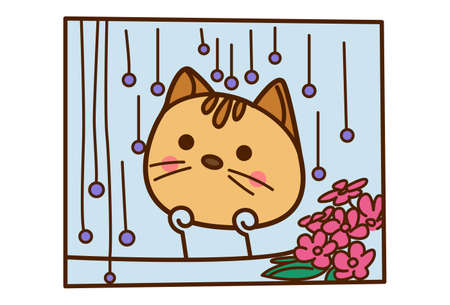 Vector cartoon illustration. Cute cat is watching from the window. Isolated on white background. 矢量图像