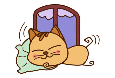 Vector cartoon illustration. Cute cat is sleeping. Isolated on white background.