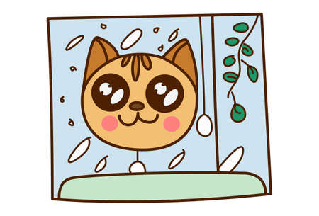 Vector cartoon illustration. Cat is seeing snowfall from the window. Isolated on white background.