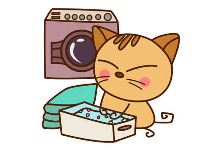Vector cartoon illustration. Cute cat is washing clothes in the machine. Isolated on white background.