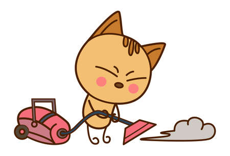 Vector cartoon illustration. Cute cat is cleaning with a vacuum cleaner. Isolated on white background.