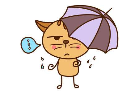 Vector cartoon illustration. Cute cat is holding an umbrella in rain. Isolated on white background. 矢量图像