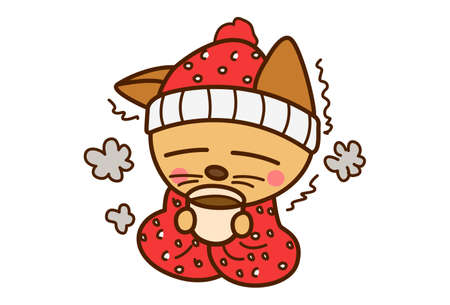 Vector cartoon illustration. Cat is drinking coffee in the cold. Isolated on white background.