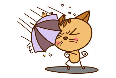 Vector cartoon illustration. Cat is holding an umbrella and standing strongly in the rain. Isolated on white background.