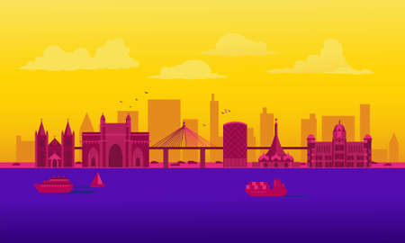 Vector cartoon illustration of the Mumbai skyline. Isolated on a colored background. Ilustração