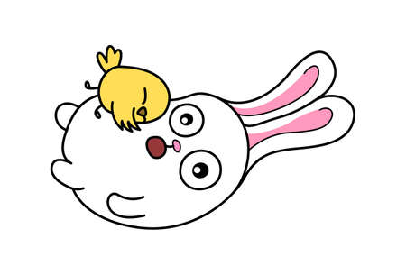 Vector cartoon illustration. Cute bunny is with the duck. Isolated on white background.