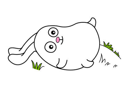 Vector cartoon illustration. Cute bunny is laying down. Isolated on white background.