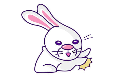 Vector cartoon illustration. Cute bunny is fighting. Isolated on white background. Vecteurs