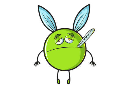 Vector cartoon illustration. Flying ball is sick. Isolated on white background.