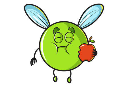 Vector cartoon illustration. Flying ball is eating an apple. Isolated on white background.