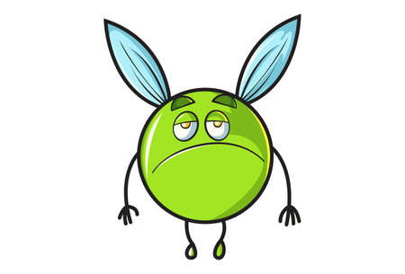 Vector cartoon illustration. Flying ball is sad. Isolated on white background.