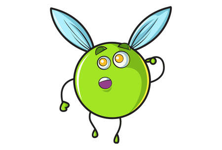 Vector cartoon illustration. Flying ball is thinking. Isolated on white background.