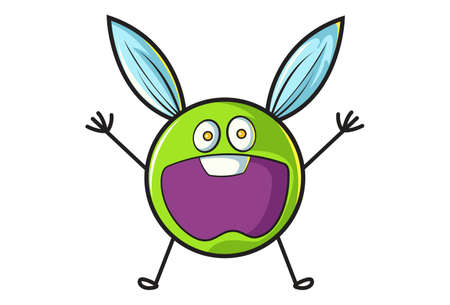 Vector cartoon illustration. Flying ball is shocked. Isolated on white background.