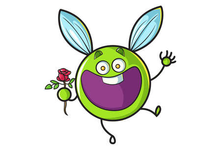 Vector cartoon illustration. Flying ball is happy and holding a flower in hand. Isolated on white background.