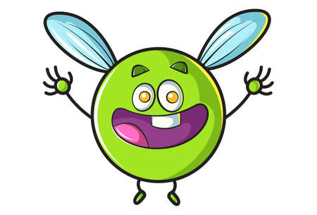 Vector cartoon illustration. Flying ball is laughing. Isolated on white background.