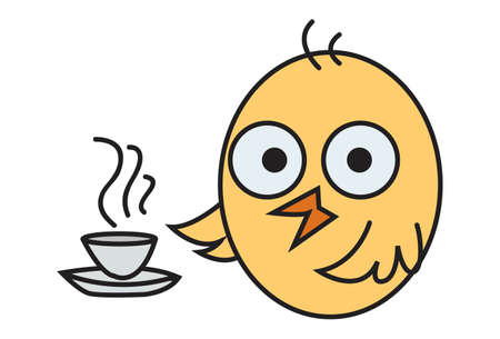 Vector cartoon illustration. Cute chick is with a cup of tea. Isolated on white background.