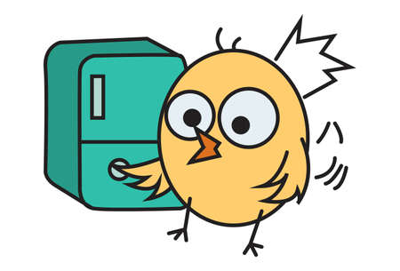 Vector cartoon illustration. Cute chick is opening a locker. Isolated on white background.